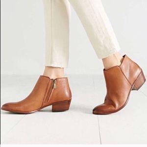 SAM EDELMAN Petty Cognac Leather Ankle Booties 8.5